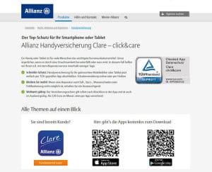 Webseite der Allianz Handyversicherung