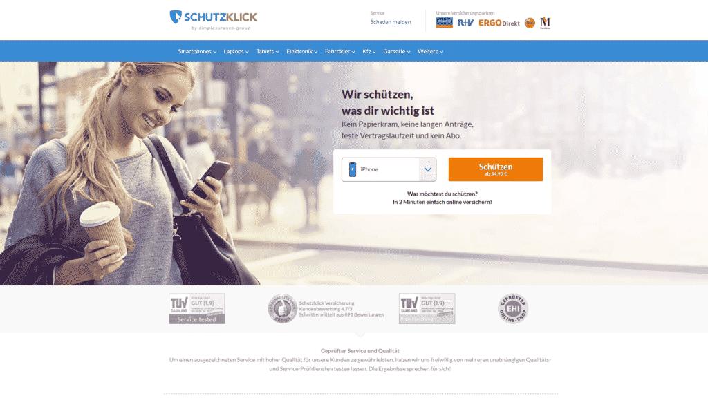 Der Webauftritt von Schutzklick